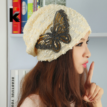 2018 New Fashion Autumn And Winter Caps For Women Beanies Butterfly Hood Turban Hat Gorro Cap Female Skullies Balaclava Hats 1