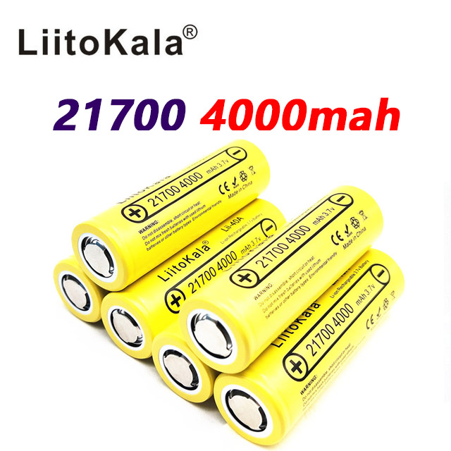 50pcs LiitoKala Lii 40A 21700 4000mah Li Ni Battery 3 7V 40A for Electronic Cigarette Mod