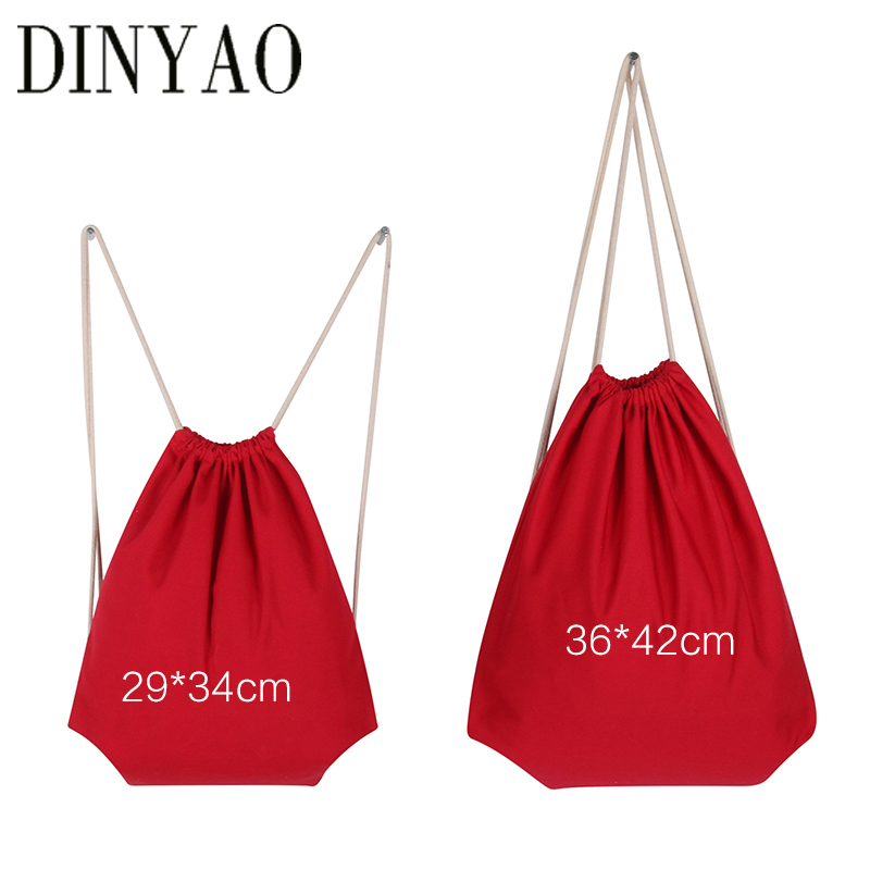 High Quanlity Travel Softback 10oz Cotton Canvas Drawstring Shopping Adults Backpack Women Red Girl Storage Bags Christmas Gift