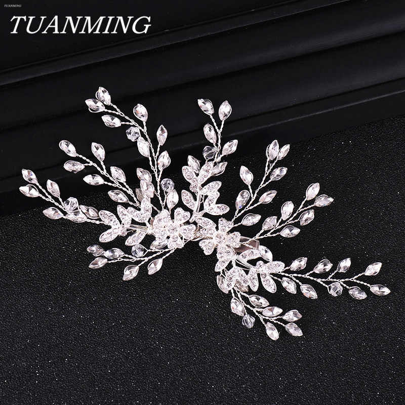 Women Hair Clip Floral Bride Headwear Wedding Tiara Jewelry Rhinestone Bridal Hair Clip Hair Accessories