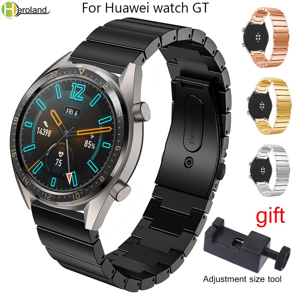 22mm Watch Strap Stainless Steel For Huawei Watch GT/gt2 42mm 46mm Active /honor Magic Quick Release Watchband Wristband +Tool