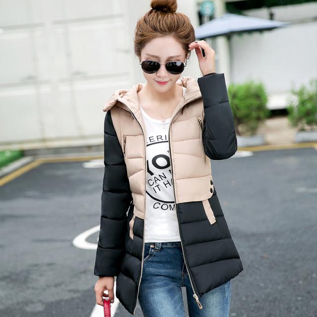 2016 algodão-acolchoado das Mulheres jaqueta de inverno de médio-longo para baixo algodão plus size jaqueta feminina slim senhoras jaquetas e casacos
