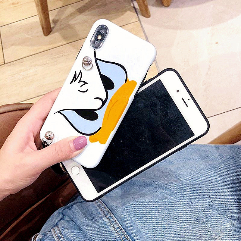 Cartoon Duck Daisy Lanyard crossbody Phone Case For iphone Xs Max necklace Xr Case X 7 8 6 Plus Shoulder Strap Soft Phone Cover in Fitted Cases from Cellphones Telecommunications