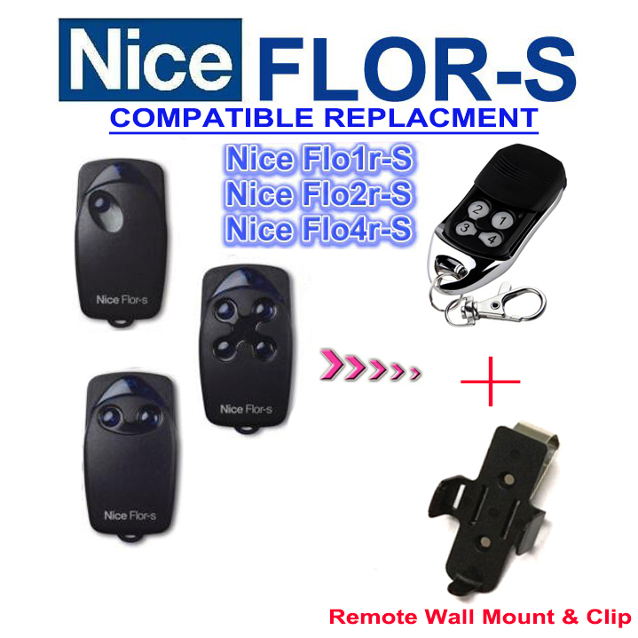 Hot items and favorable price! Nice FLOR-S replacement garage door remote control 433mhz rolling code+ Wall mount +Clip портативная колонка denon envaya dsb 50 black