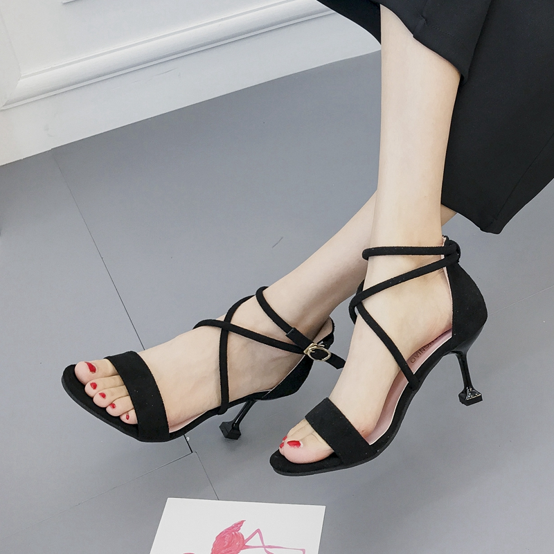Sandals summer 2017 open toe all-match cross-strap strap thin heels high-heeled shoes all summer long