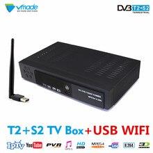 Vmade DVB T2 S2 + USB Wi-Fi HD цифрового наземного Спутниковое Декодер каналов кабельного телевидения H.264 MPEG-2/4 FTA CCCAM DVB T2 s2 IPTV комбинированный приемник