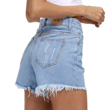 New Fashion cotton Hot Denim Shorts women Sexy hole Frayed Edges high Waist short jeans casual pockets Ripped shorts 1592