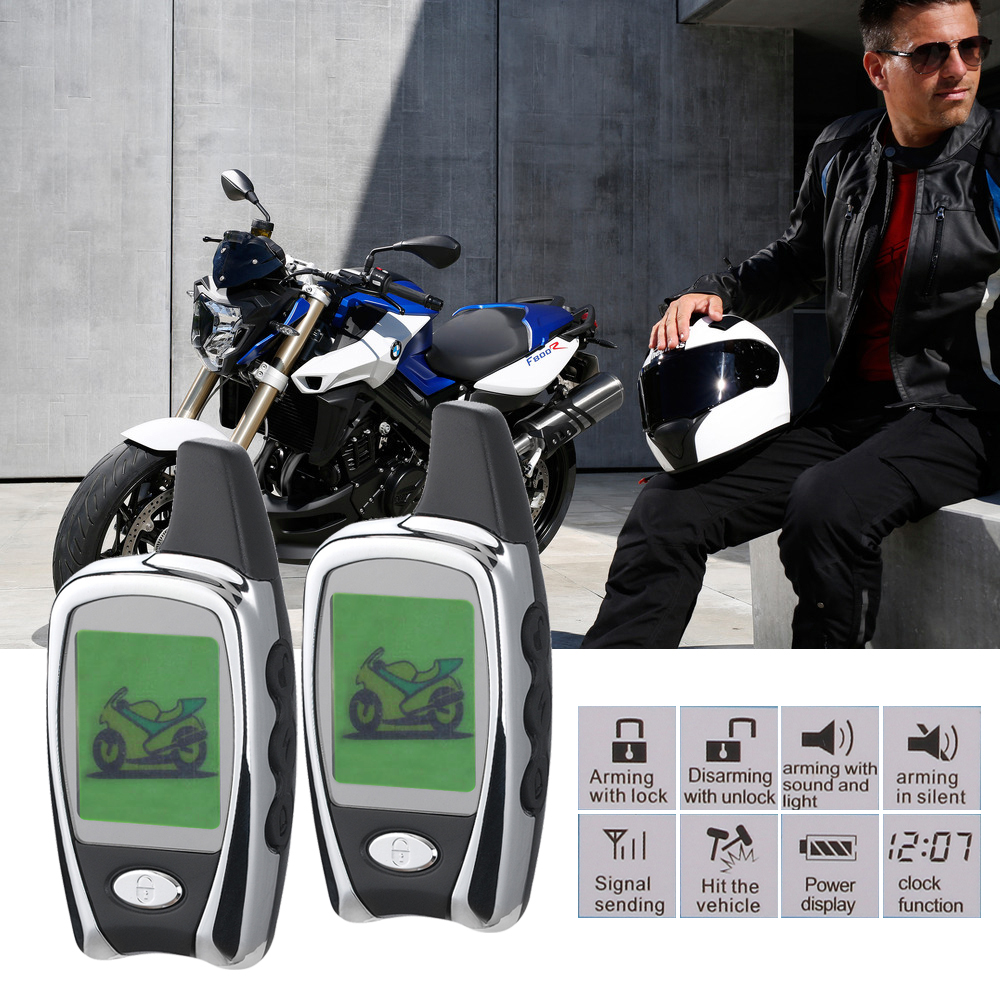 Motorcycle Alarm System Motorbike 2 Way LED Alarm Theft Protection Long Range Distance remote engine start цена 2017