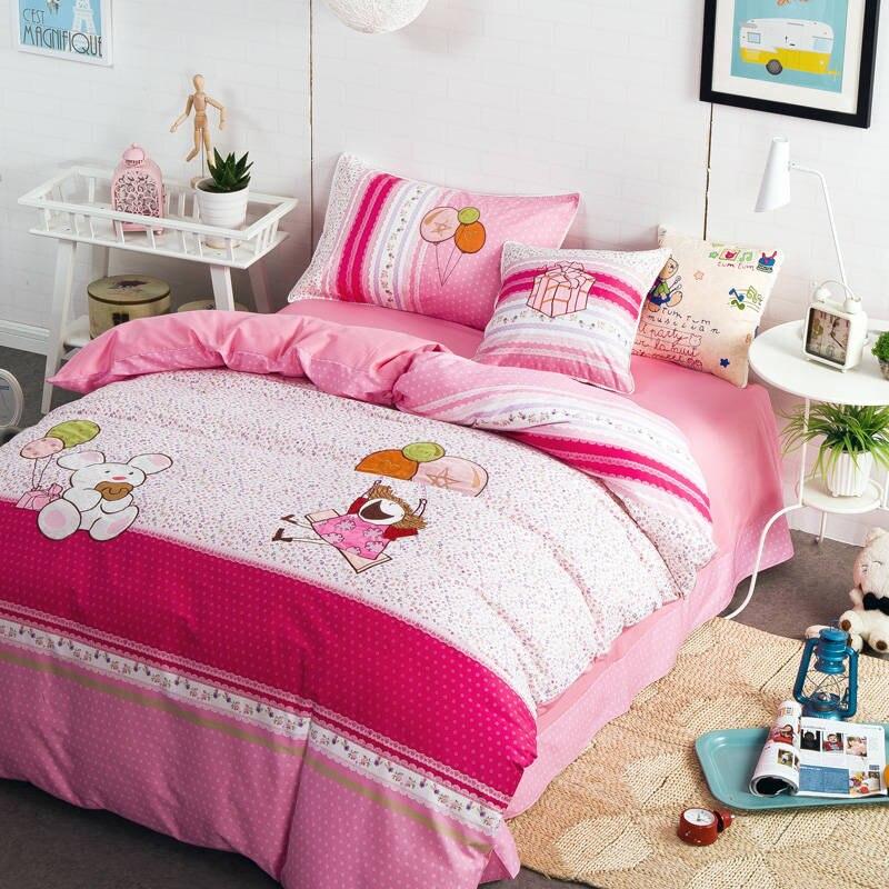 romantic pink polka dot bear print bedding twin size kids babies crib children girls bedroom decor cotton fabric bed cover sheet
