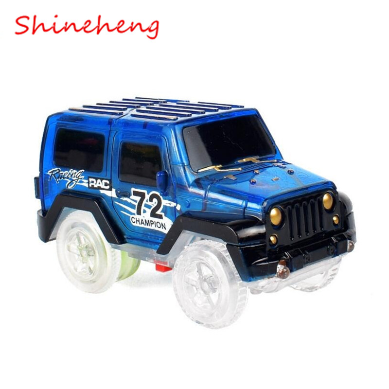 Shineheng Magic Electronics LED Cars Toys Flashing Lights Racing Car Boys Birthday Gift Kids Toy Play with Tracks Together
