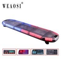 Good Sale! TBD 8900H Red and Blue 80leds Light Bar Flashing Emergency Warning LED Strobe Lightbar 38 flash modes for all vehicle