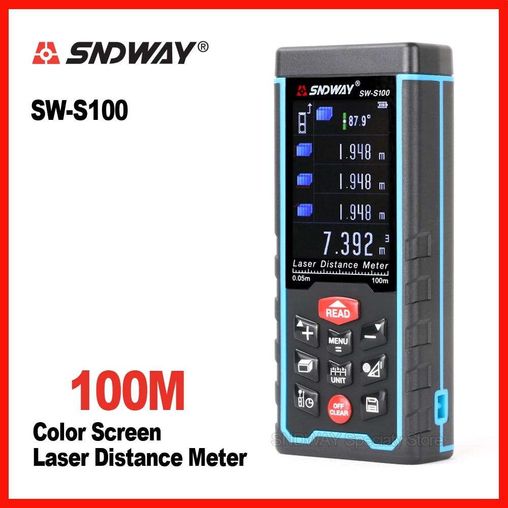 New Sndway Digital color screen 100m laser range finder distance tape measure roulette meter trena rangefinder