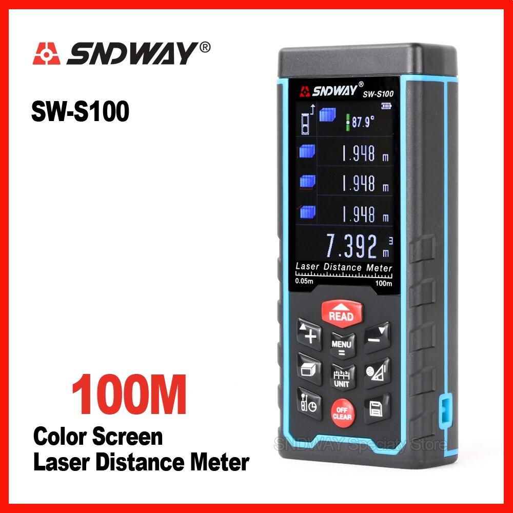 New Sndway Digital color screen 100m laser range finder distance tape measure roulette meter trena rangefinder Electronic ruler