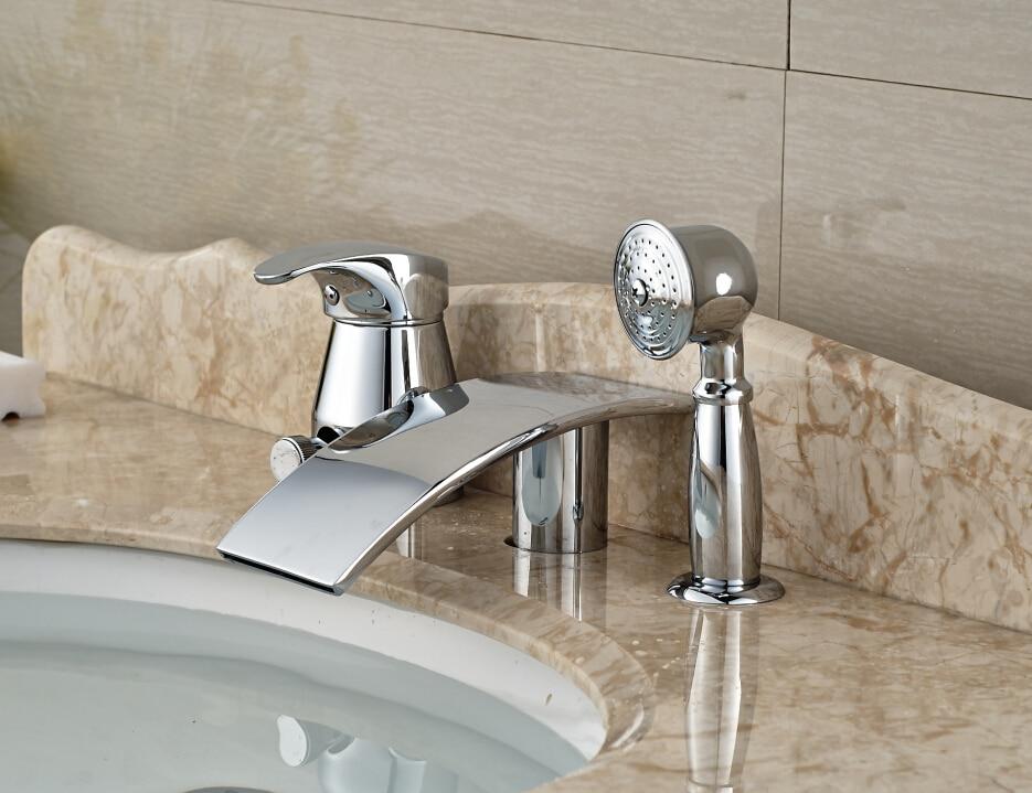 Chrome color 3pcs Single Handle Mixer Bathtub Faucet Handheld Shower niko 50pcs chrome single coil pickup screws