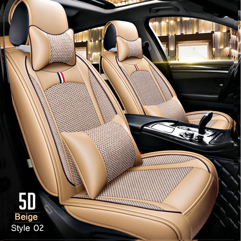 Summer 100% breathable  PU Leather / Ice silk Car seat covers Universal Car Seat Protector Seat Cover Auto Interior Accessories-in Automobiles Seat Covers from Automobiles & Motorcycles    3