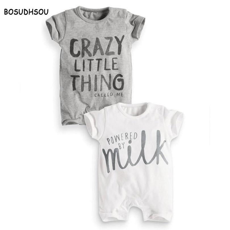 Bosudhsou dm-25 Baby Girls Rompers Brev Tryckt Sommar Kortärmad - Babykläder