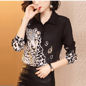 black Leopard floral chiffon office silk blouse womens tops and blouses 2019 summer elegant sexy boho long sleeve plus size slim