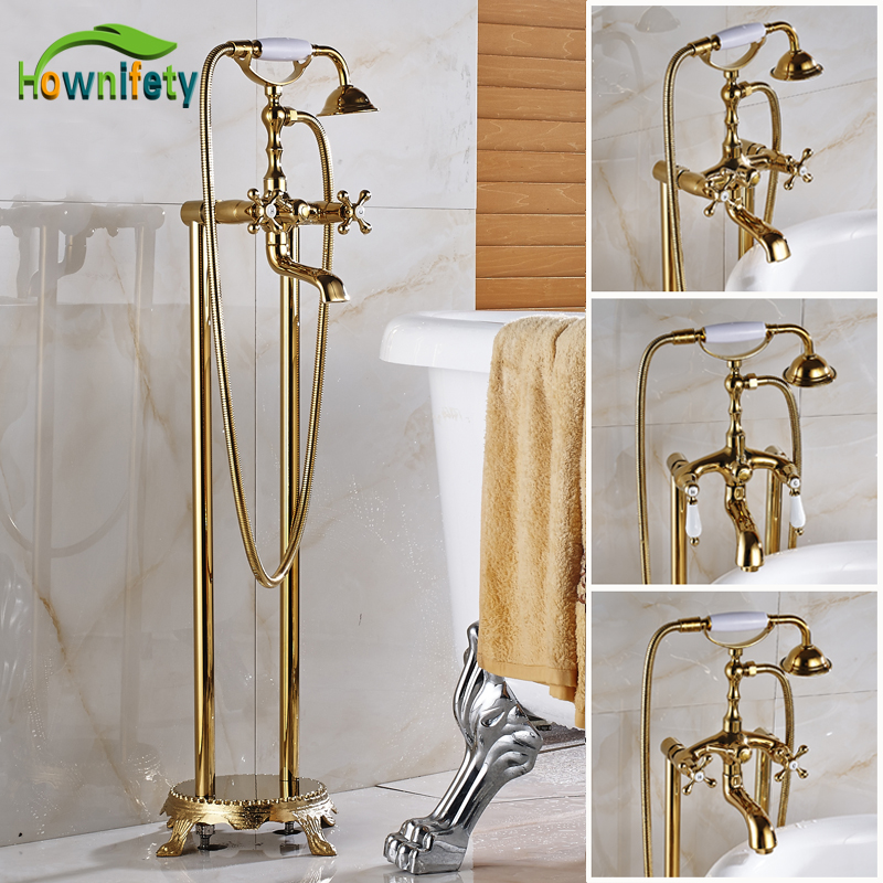 Gold Polished Double Handle/Holes Bathroom Tub Faucet Swivel Spout Mixer Tap with Hand Shower Floor Mounted