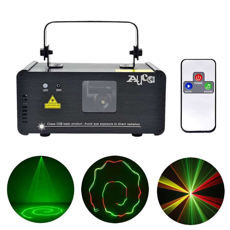 Здесь можно купить  AUCD IR Remote 200mW RGY Laser Stage Lighting 8 CH DMX 512 PRO Scanner DJ Party KTV Show Projector Equipment Light DM-RGY200  Свет и освещение