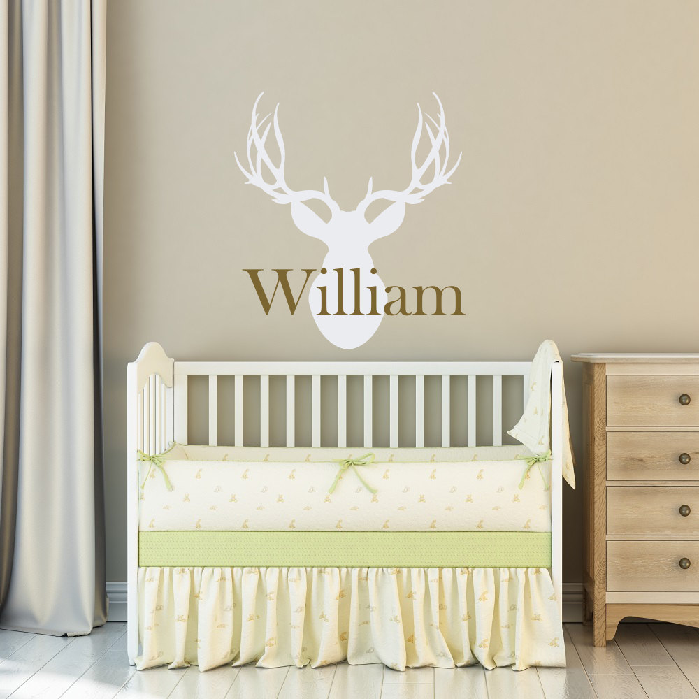 custom name boys bedroom decor wall stickre personalized name deer head hunting wall decal art nursery. Interior Design Ideas. Home Design Ideas
