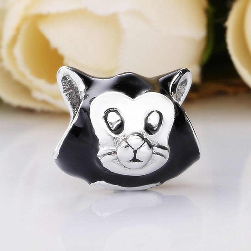Новинка 925 стерлингового серебра бусины в форме животных Шарм черная эмаль сладкий Фигаро бусины кошка Fit Pandora браслет Diy ювелирные изделия