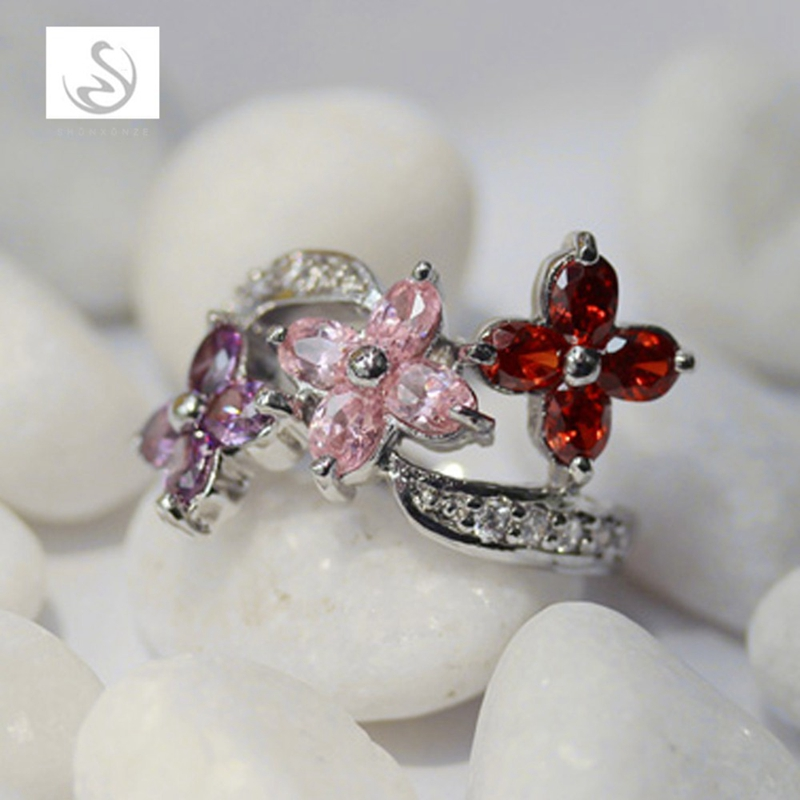 SHUNXUNZE fashion vintage women engagement rings red pink Purple flower Cubic Zirconia accessories Rhodium Plated R222 size 7 8