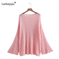 Lanbaiyijia Newest Flare Long Sleeve Solid Hollow out Women Sweaters Fashion Loose Women Knitted Pullovers Sweaters 6 Color