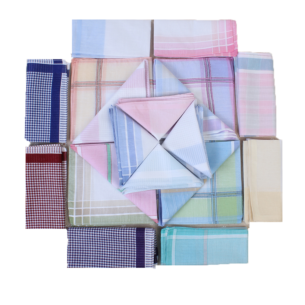 5Pcs man Cotton Vintage Thin Men Pocket Squares Plaid Stripe Handkerchief Women Hanky Scarves Casual Towel 29X29cm Random Color
