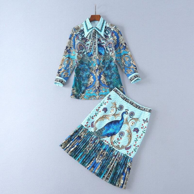 Femmes 2 pièces ensembles femmes tenues 2 pièces ensembles à manches longues Blouse taille haute plissée jupe paon imprimé haute qualité costumes