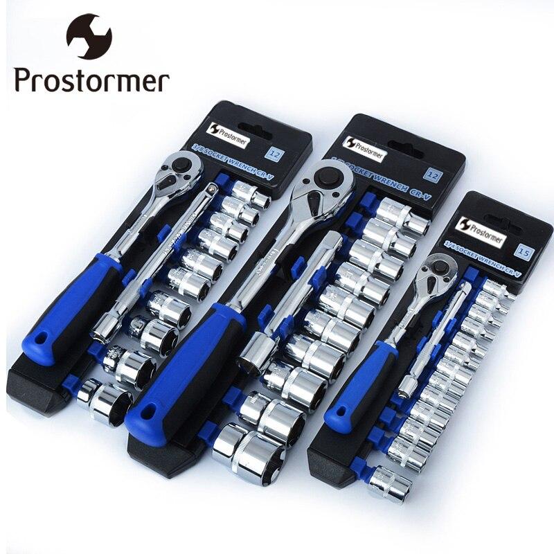 PROSTORMER CR-V Ratsche 1/2 3/8 1/4 rutschfeste Schraubenschlüssel Sets Professionelle Reparatur Handwerkzeug Auto Fahrrad Werkzeuge