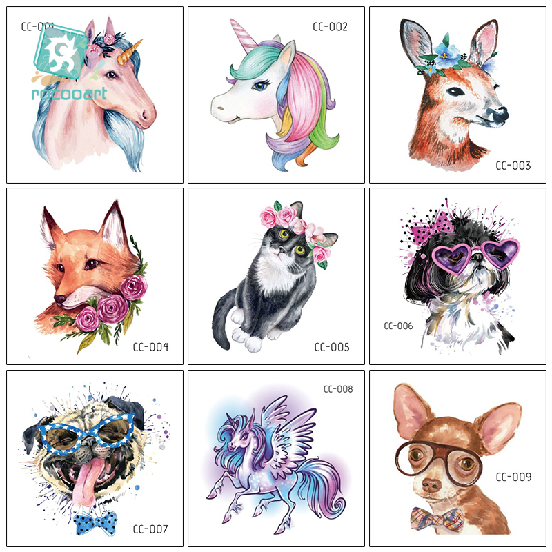 Rocooart Glass Dog Tattoos Cute Animals Temporary Tattoo Sticker For Body Art Watercolor Tatoo Waterproof Tatto Hand Taty