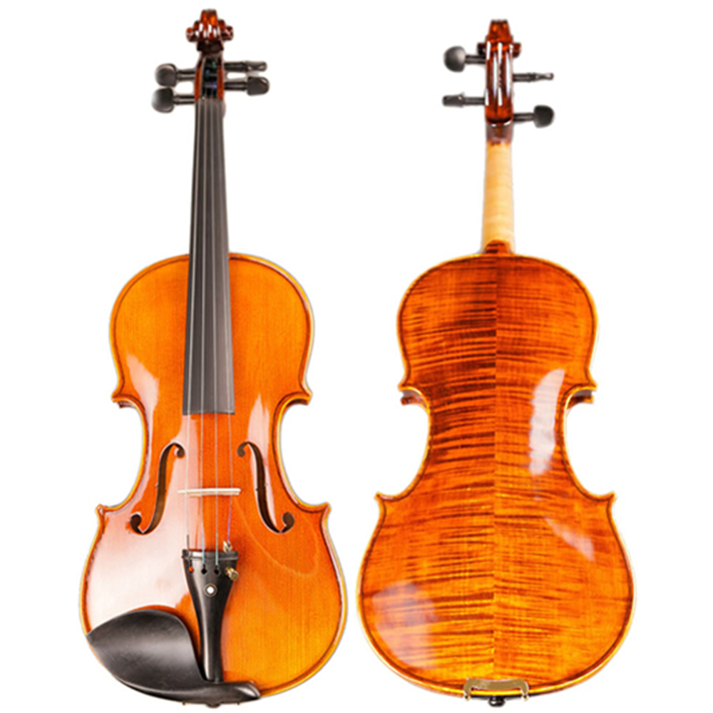 Full Hand-made Alcohol Paint Violin 15 Years Old Naturally Dried Stripes Maple Handcraft Professional Violino 4/4 TONGLING Brand original thomastik vision solo vis100 4 4 violin strings full set med alum d made in austria free shipping