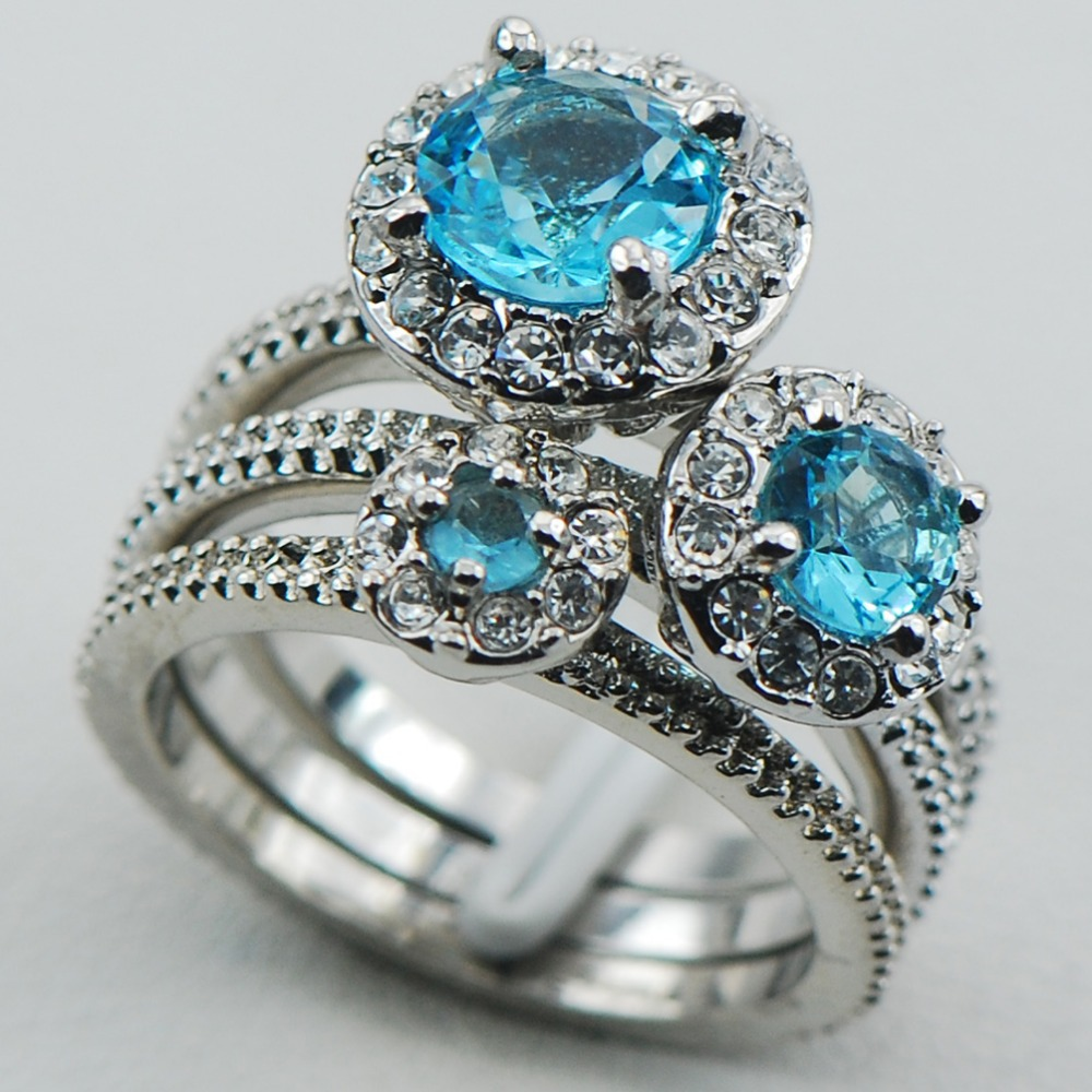 Simulated Aquamarine 925 Sterling Silver Top Quality Fancy Jewelry Engagement Wedding Three Ring Size 6 7 8 9 10 F1116