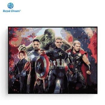 벽 아트 캔버스 avengers 그림 프레임 벽 그림 번호로 색칠 번호 키트 영화 포스터