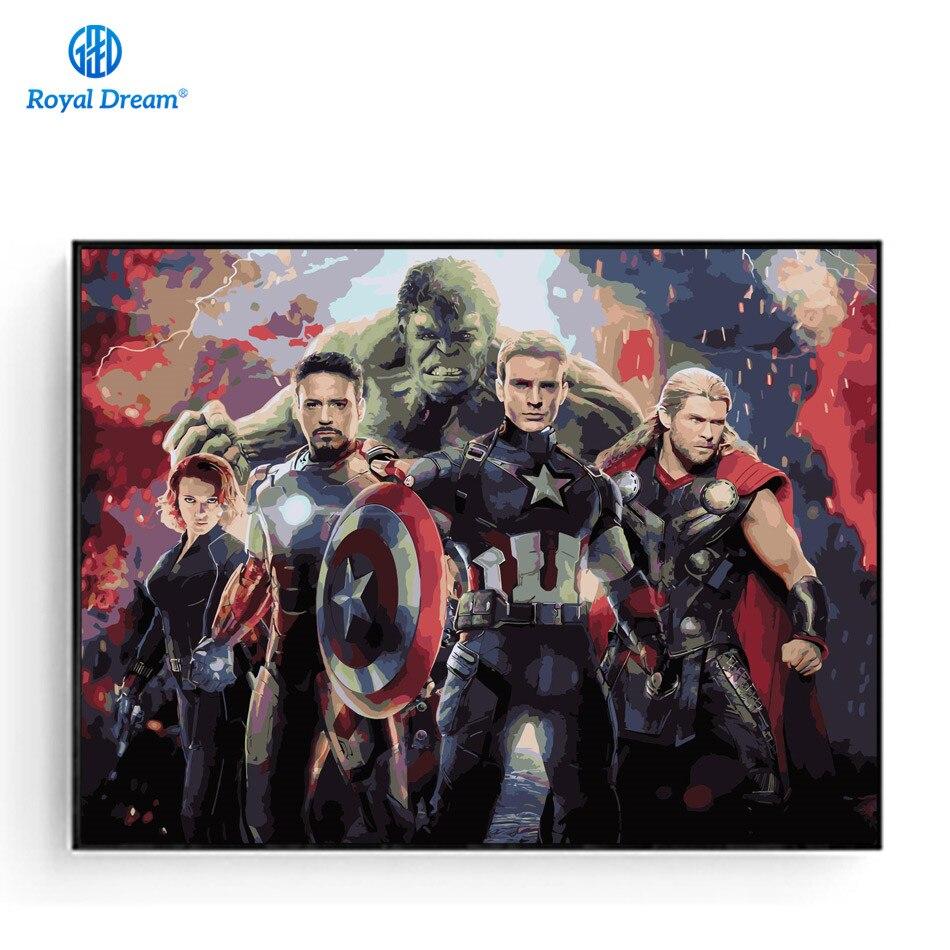 Wandkunst Leinwand The Avengers Bilderrahmen Wand Malen Nach Zahlen Färbung Durch Nummer Kits Movie Poster