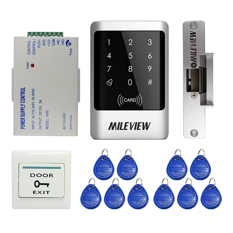 MILEVIEW DIY Waterproof Rfid Door Access Control Kit Set With Electric Strike Lock + 10 RFID keyfob Card In Stock FREE SHIPPING mileview rfid code keypad door access control system kit set electric drop bolt door lock in stock free shipping