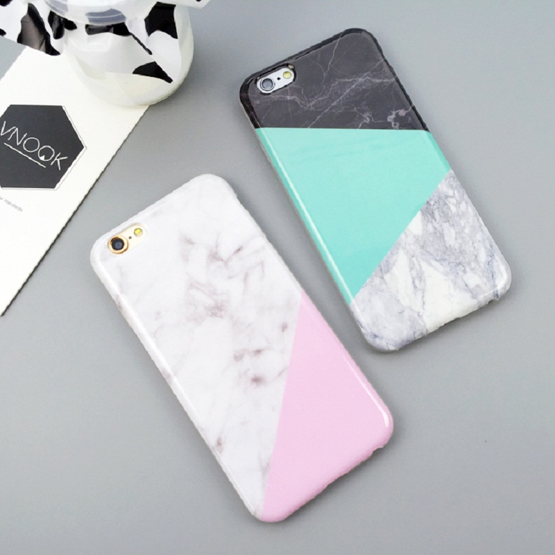 Geometric Joint Design Marble Stone Phone Cases For iPhone 6 6S/ 6Plus 6SP/ 7/ 7Plus White Black