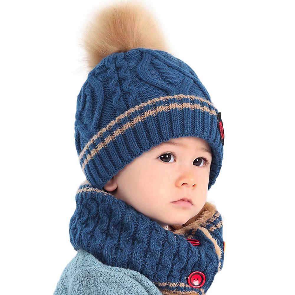 MUQGEW Baby Hat Kids Beanie Cap Boys Girls Neckerchief Knitted Winter Scarf Warm  Children Hats Baby 79a17cb824f3
