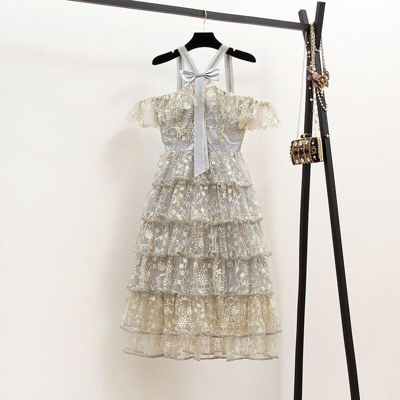Nouvelle robe de vacances 2019 avec super fée net fil broderie lourde taille de travail robe de gâteau en été