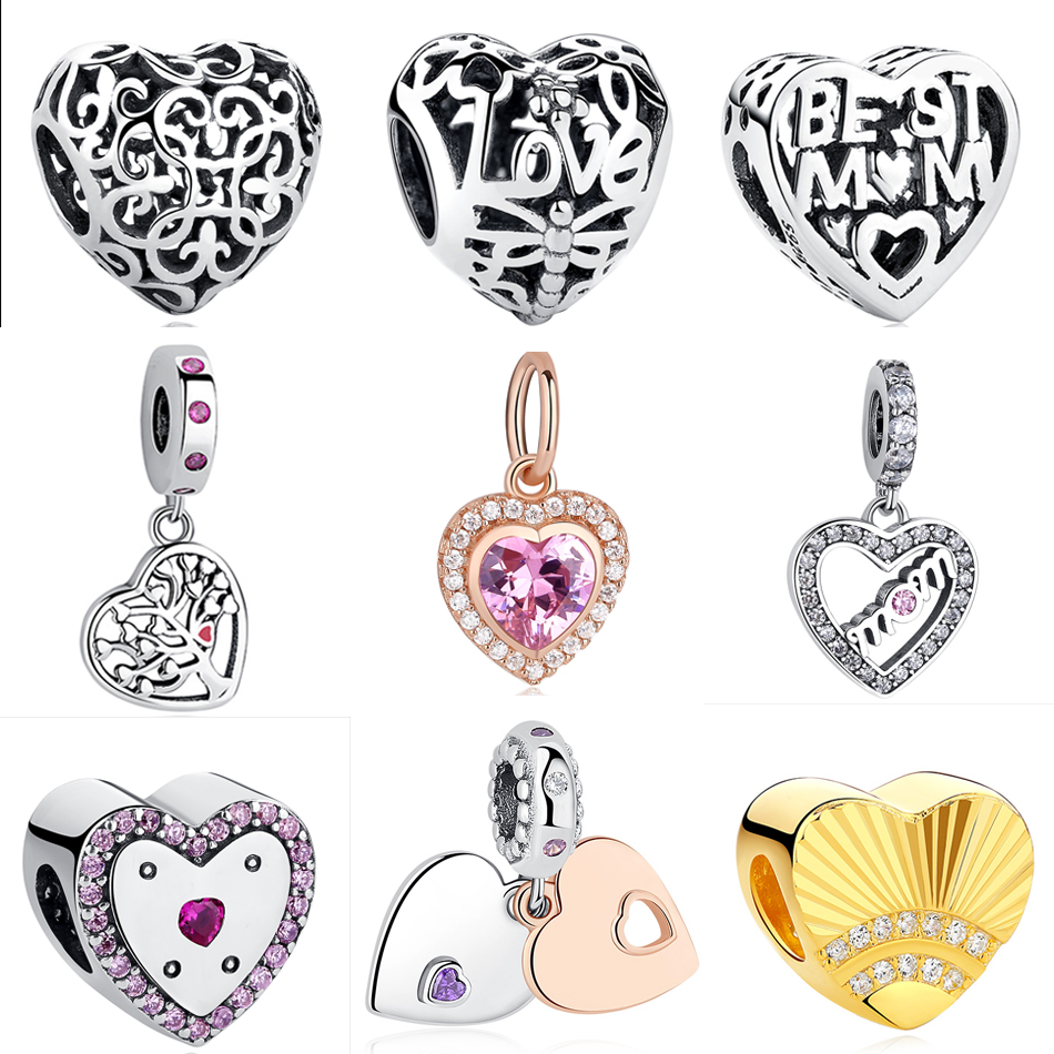 European 925 Sterling Silver Crystal Heart Charms Beads Fit Original Pandora Charm Bracelet Necklace DIY Fashion Perles Jewelry