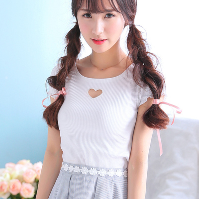 Princess Sweet Lolita Tees Uncle Flower Sweet Love Pierced All-match Slim Bottoming Shirt Tees Elastic Solid Color Flowers UF01