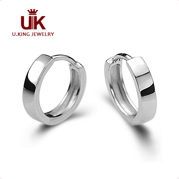 Hot 925 Sterling Silver Hoop Earrings Plain For Men Women