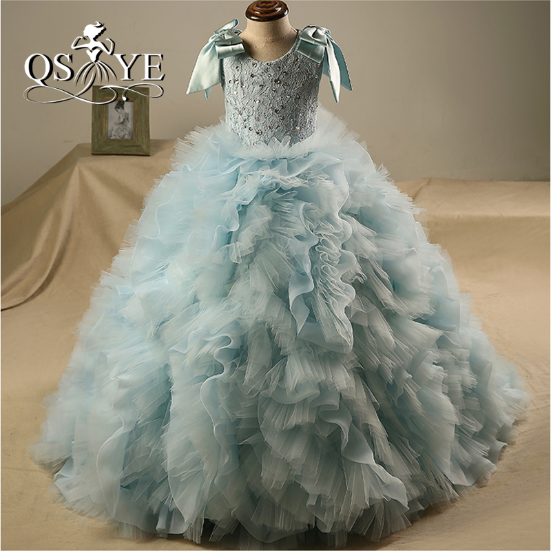 New Blue Ball Gown   Flower     Girl     Dresses   2018 Vintage O-Neck Lace Beaded Ruffles Tulle   Girls   Communion   Dress   Long Prom Gowns