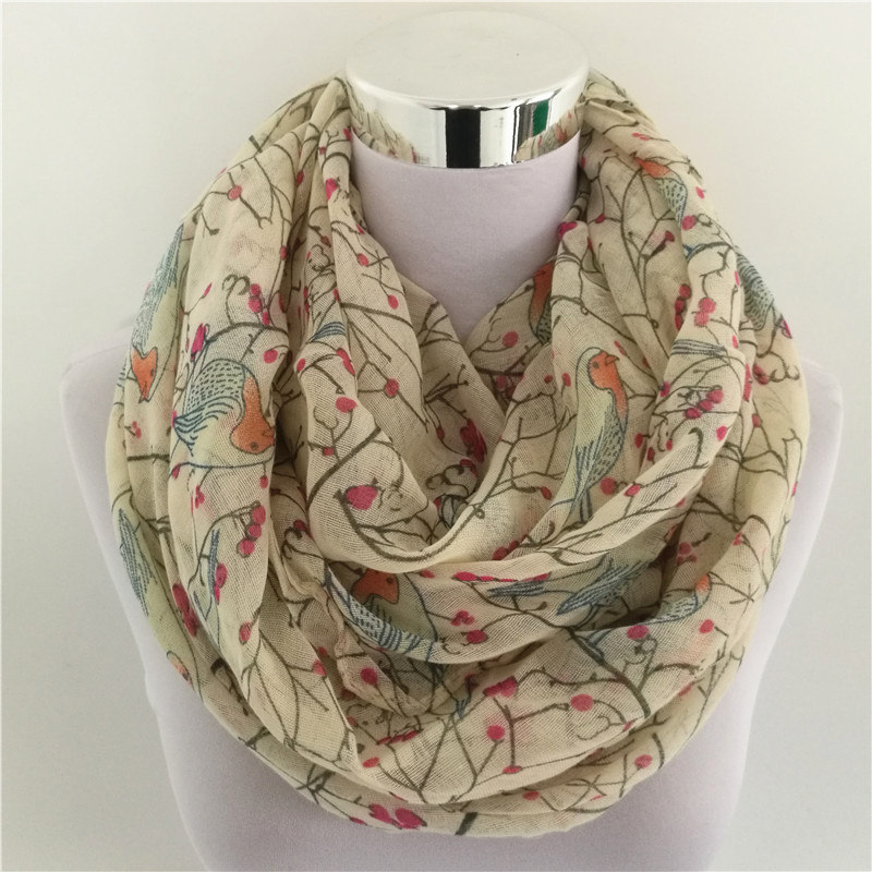 New Fashion Lightweight Soft Women loop scarf Sky Blue White Birds Print Infinity Scarves Foulards Snood For Ladies foulard