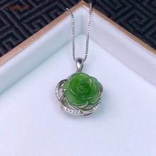 цена Certified Natural Hetian Jade Jasper Inlaid 925 Sterling Silver Lucky Rose Jade Pendant Hand Carved Green High Quality Best Gift онлайн в 2017 году