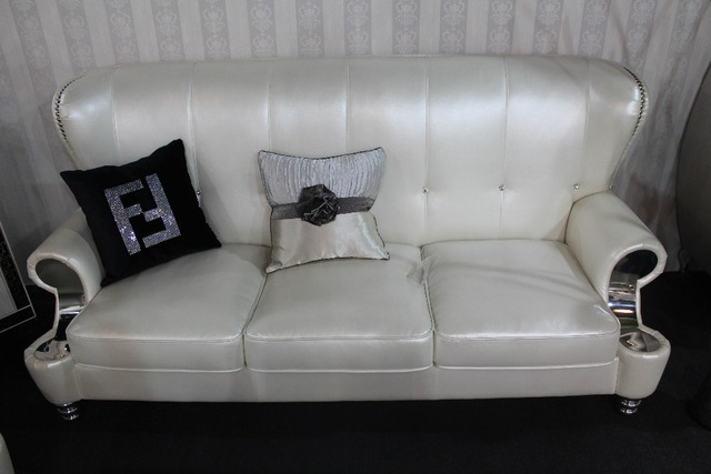 Pearly white leather French royal living room sofa hot selling genuine leather chair real leather sofa chair