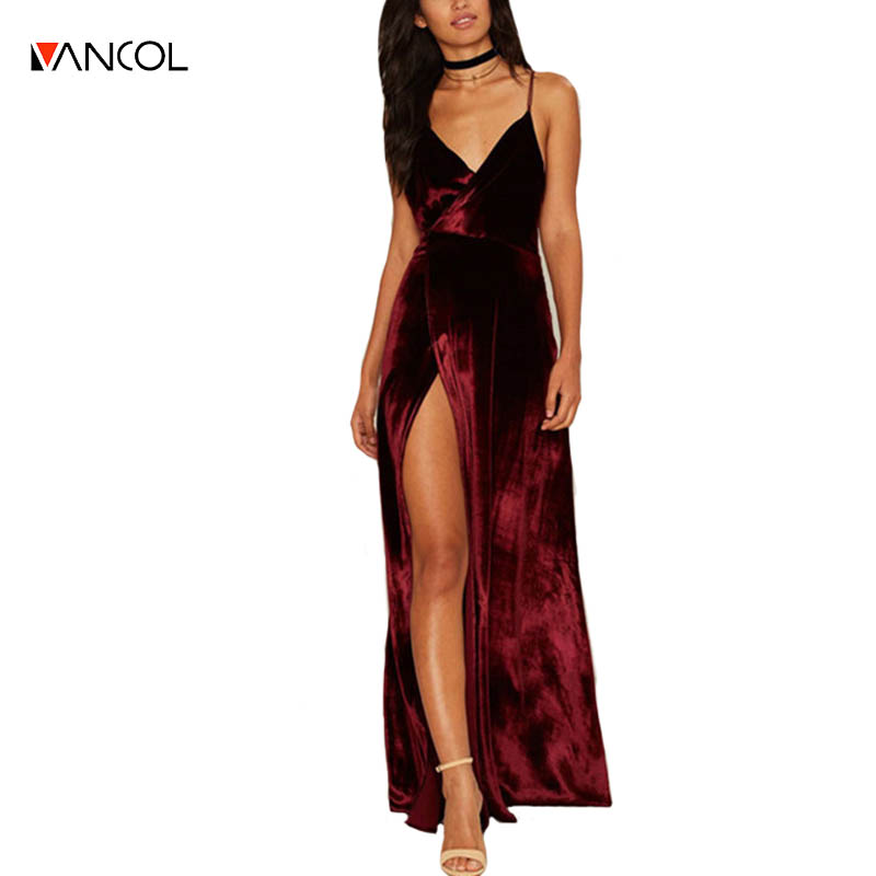 Vancol Velvet Dress V Neck Sleeveless Strapless Night Club ...