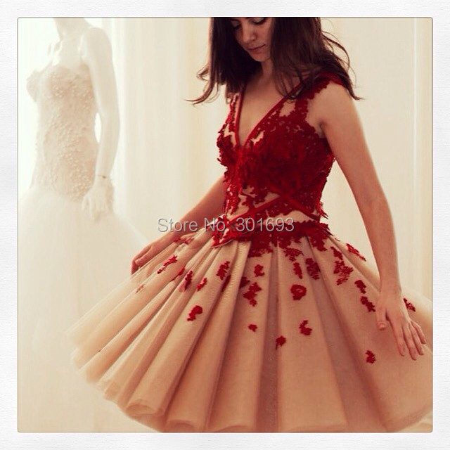 Oumeiya ONP257 Sexy V Neck Burgundy Nude Two Tone Puffy Short Tulle Prom  Dress 2015 0f0d05dca43b