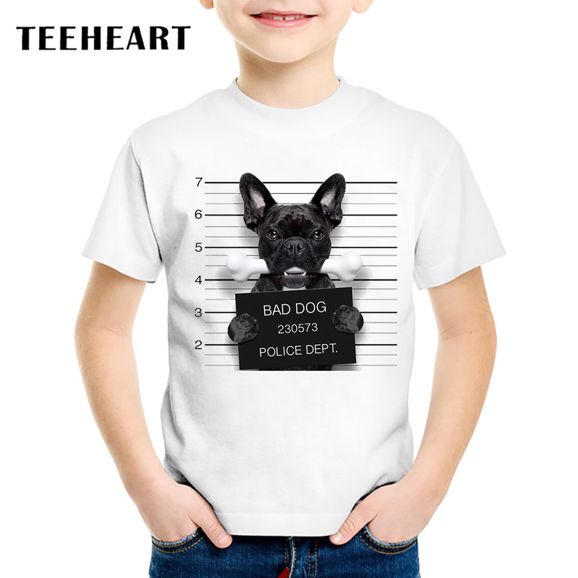18M-10T Summer Animal T-Shirt for Children 2017 Kid Apparel Baby Bad Dog/Pug/Boston t shirt Boys Girls Top Tees Outwear