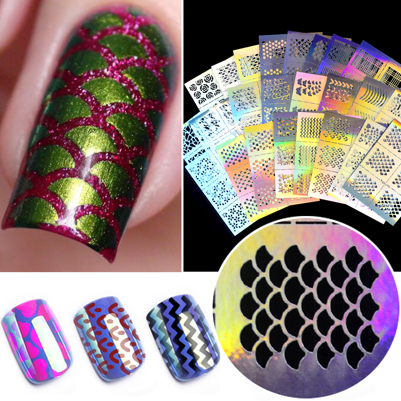 ZKO 1Pc Hollow Out Nail Art DIY Tips Guides Transfer Stickers Accessories French Tips Nails Decal Decoration
